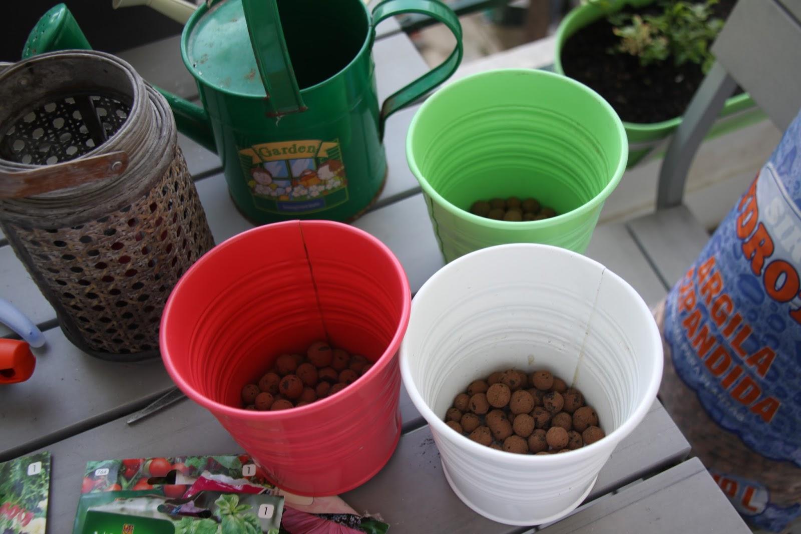 2. Lave os vasos, se for necessário, e coloque leca no fundo (no caso de os vasos serem perfurados).