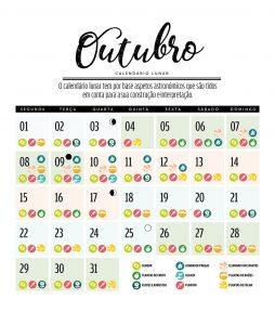calendário lunar de outubro